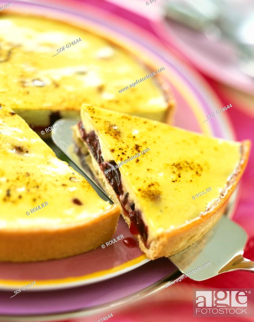 Stock Photo: Cherry and lemon tart.