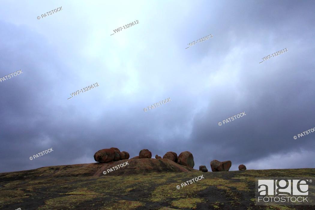 Stock Photo: Boulders surrounding Cecil John Rhodes tomb on World's View Malindidzimu Hill in Matopo National Park, Zimbabwe.