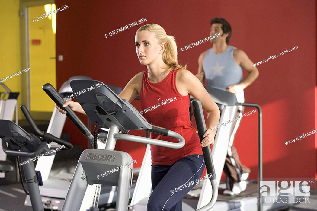 Gym, ergo-meter, woman, Crosstrainer, man, conveyor belt