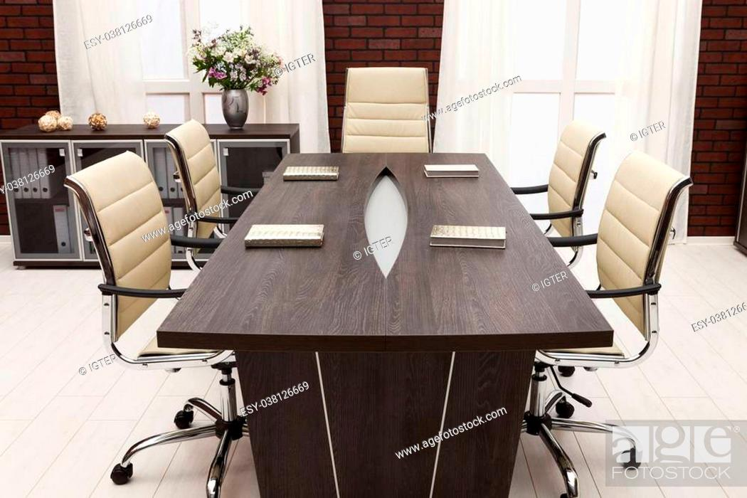 Stock Photo: meeting table in a modern office.