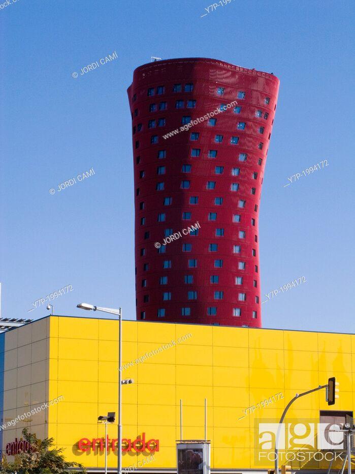 Stock Photo: Tower by Toyo Ito in Plaça Europa, Hospitalet de Llobregat. Barcelona province, Catalonia, Spain.