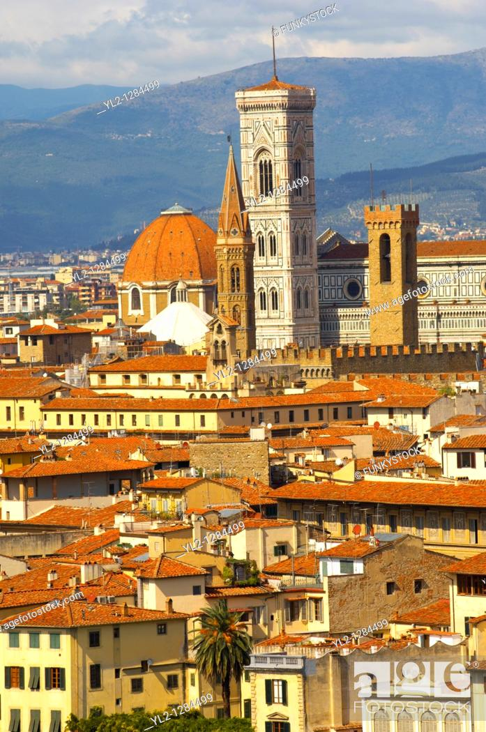 Stock Photo: Palazzio Vecchio over rooftops - Florence Italy.