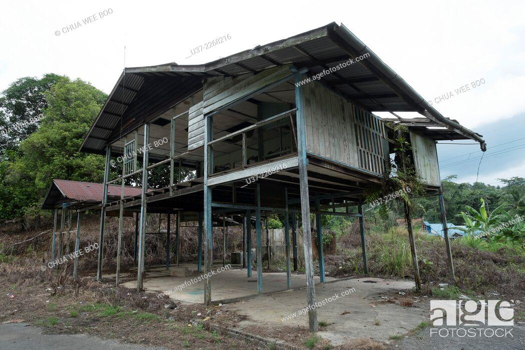 Stock Photo: An abandoned wooden Bidayuh house in Kampung Bengoh, Sarawak, Malaysia.