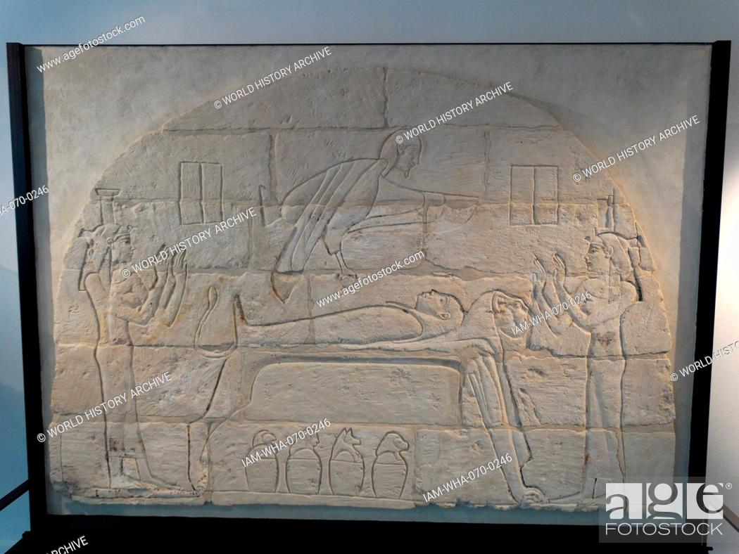 ancient egyptian wall relief in painted limestone it was part of