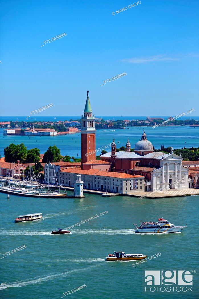 Stock Photo: View of Church of San Giorgio Maggiore. . from the Campanile di San Marco (St. Mark's bell tower), Venice, Italy.