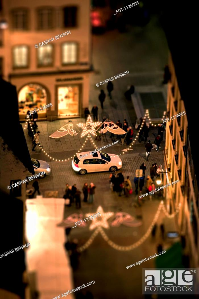 Stock Photo: Tilt-shift of a Christmas Market, night, Strasbourg, Alsace, France.