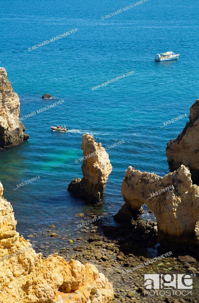 Stock Photo: View from Ponta da Piedade, Lagos, Algarve, Portugal.