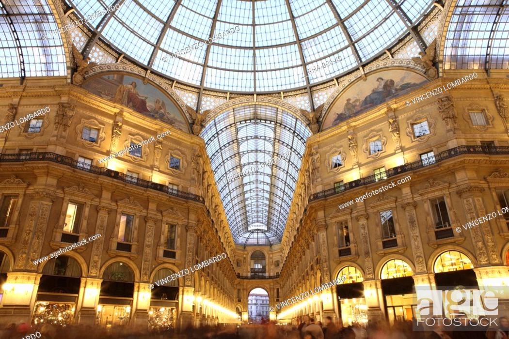Stock Photo: Galleria Vittorio Emanuele at dusk, Milan, Lombardy, Italy, Europe.