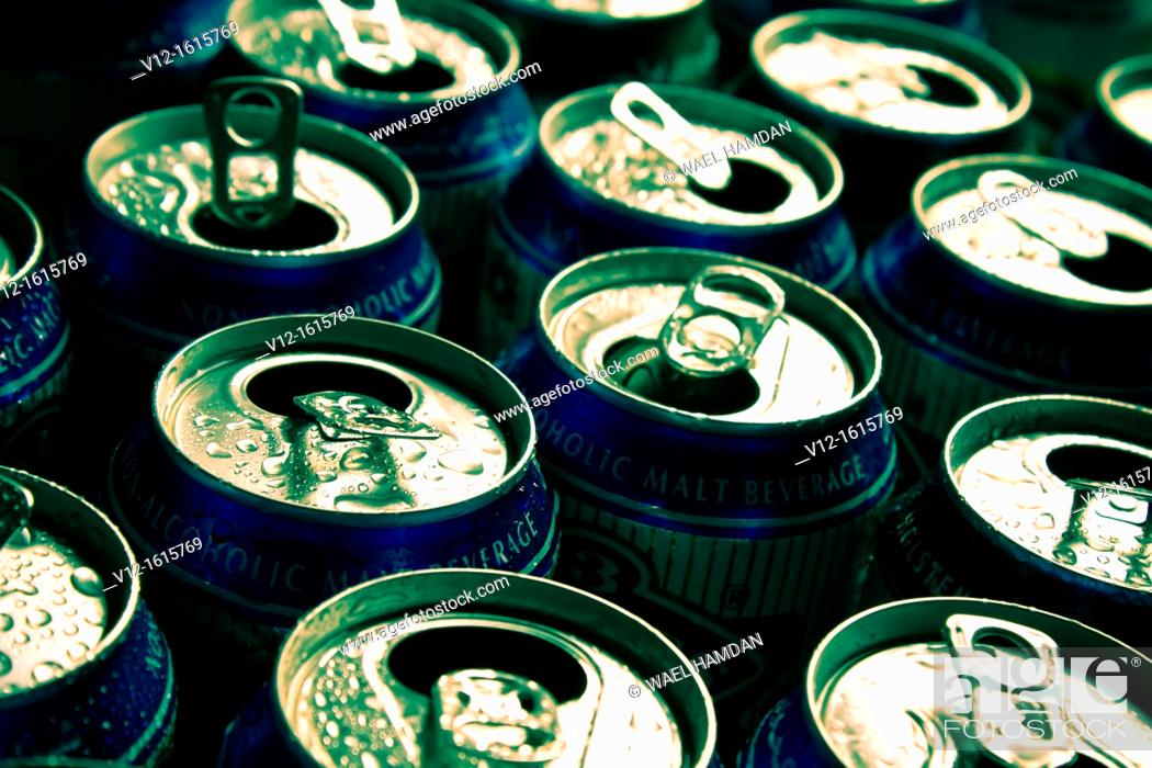 Stock Photo: Opened cans, close up.
