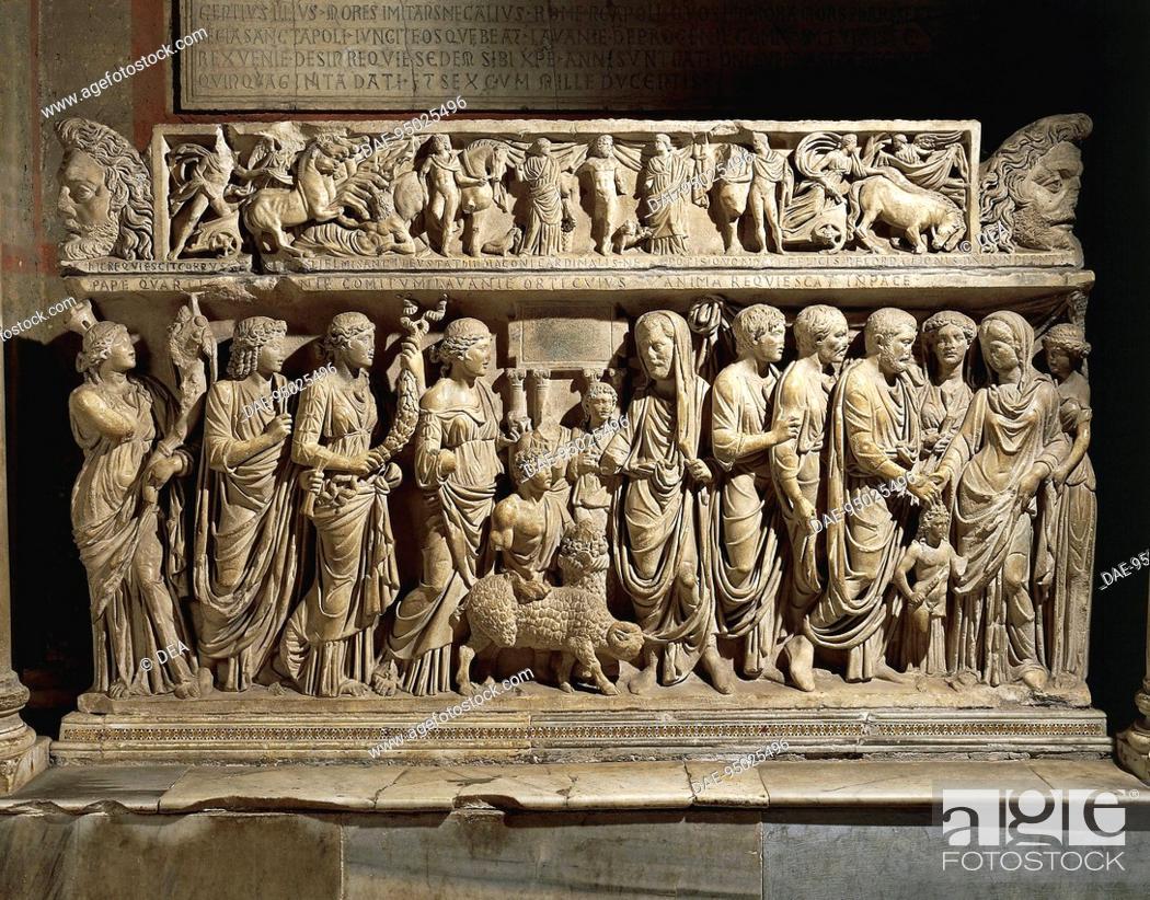 Stock Photo: Italy - Latium region - Rome - Basilica of San Lorenzo fuori le Mura. Tomb of Cardinal Fieschi, Roman marble sarcophagus, 3rd century A.D.