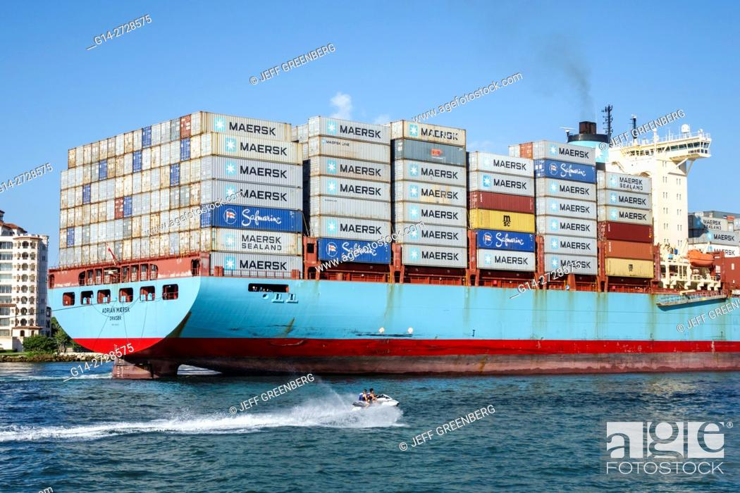 Stock Photo: Florida, Miami Beach, South Beach, Government Cut, shipping channel, water, container ship, cargo, Maersk Line, transportation, view from South Pointe Park.