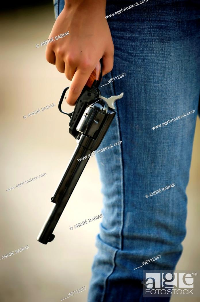 Stock Photo: Girl with gun.