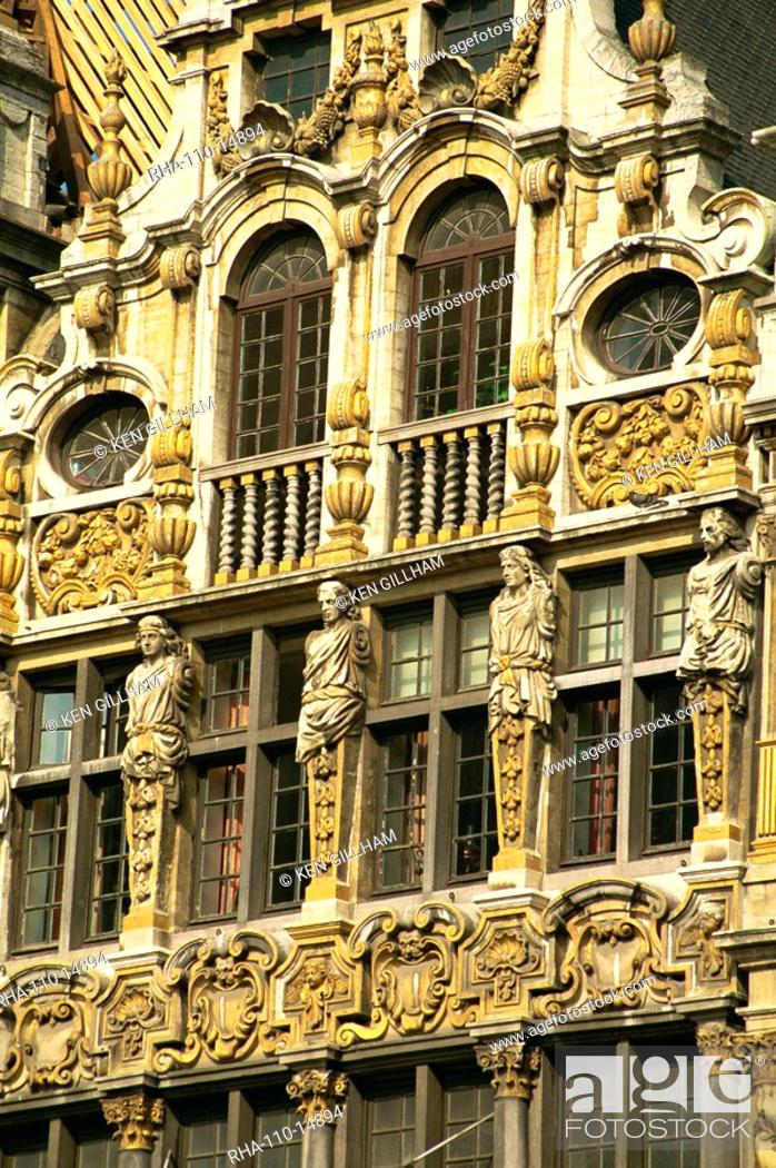 Stock Photo: Gilded facade of Guild House, Grand Place, UNESCO World Heritage Site, Brussels, Belgium, Europe.
