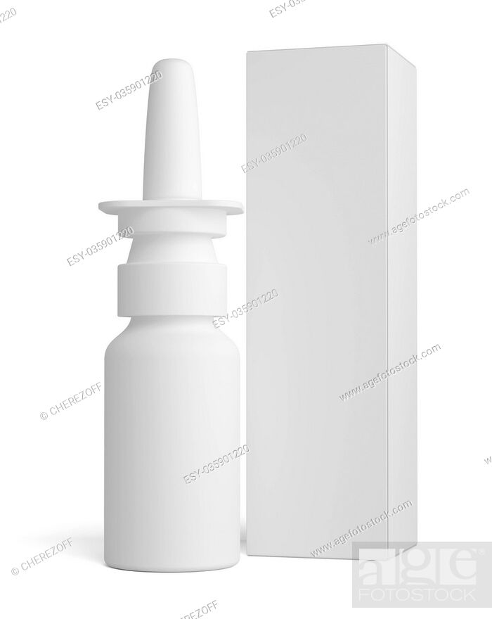 Stock Photo: Spray nasal plastic bottle and tall paper box.