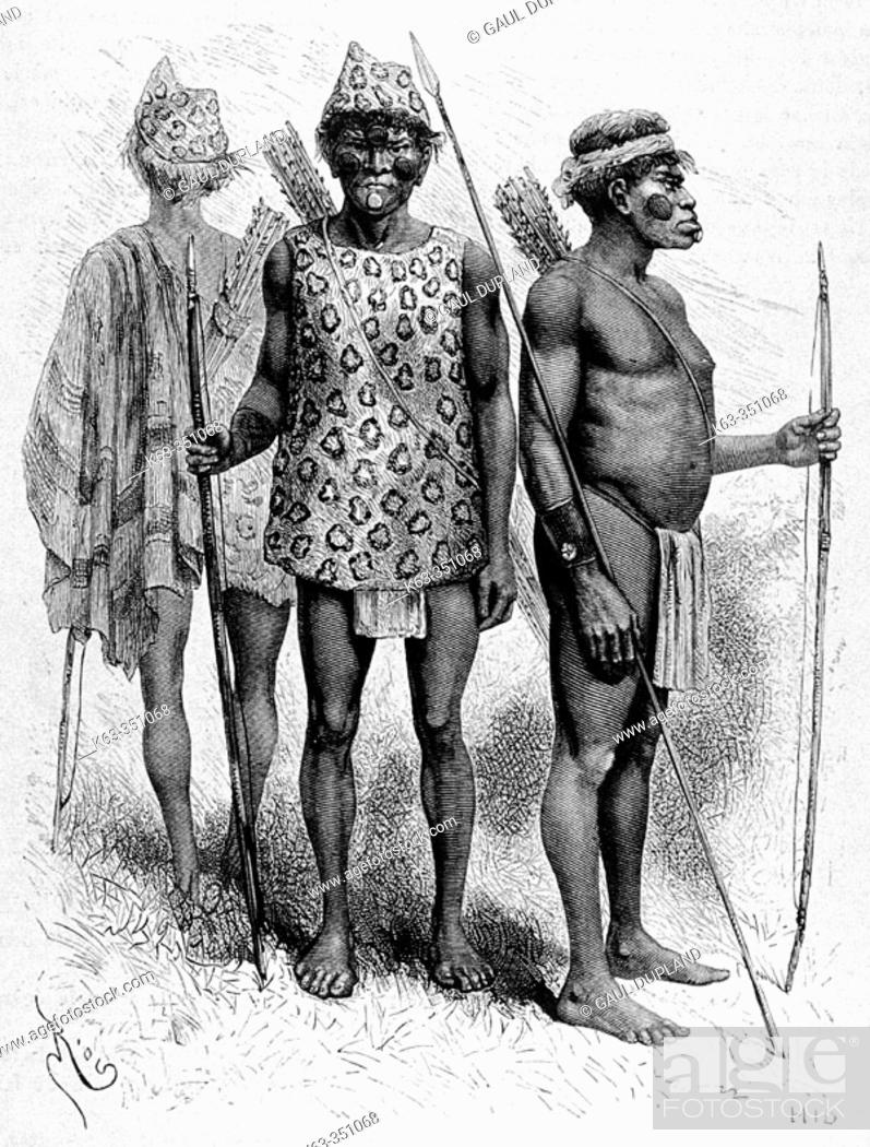 Stock Photo: Chiriguano indians, engraving from 'Le tour du monde'.