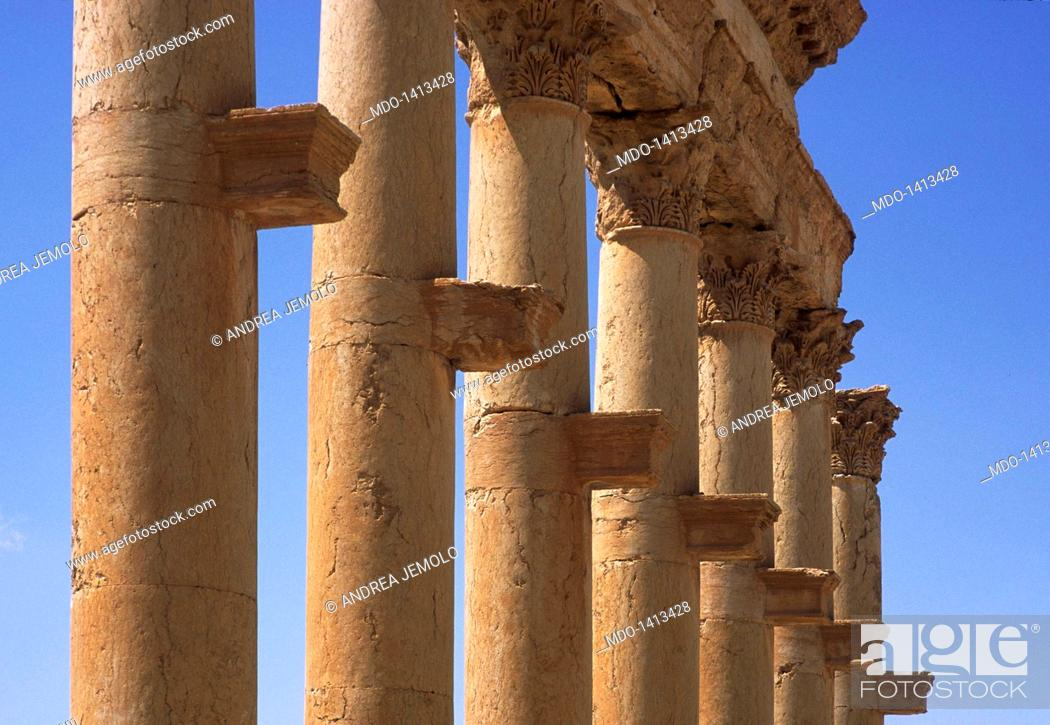 Stock Photo: Great columnade, 2nd Century a.C., about 1100 m, pavement 11 m. Syria, Palmyra. Detail. The shelves that supported statues representing dignitaries.