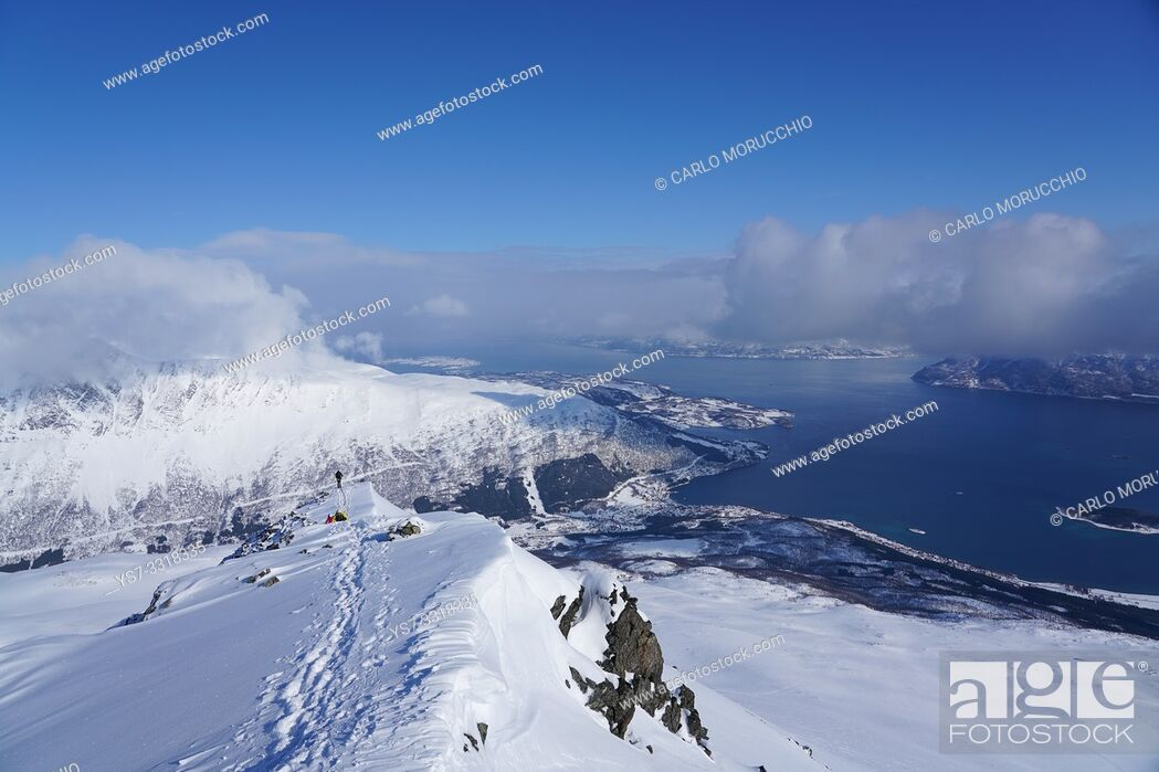 Stock Photo: Ski touring in the Lyngen Alps, Lyngen peninsula, Troms County, Norway, Europe.