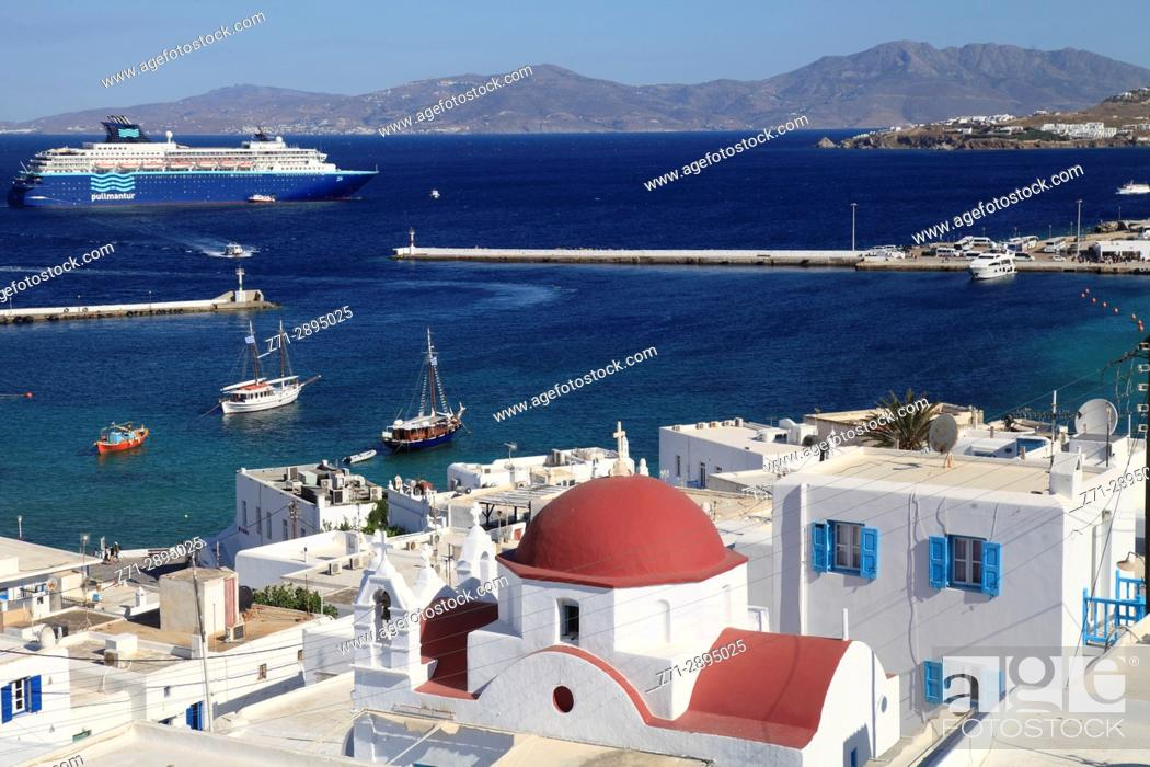 Stock Photo: Greece, Cyclades, Mykonos, Hora, harbour, ships, boats, .