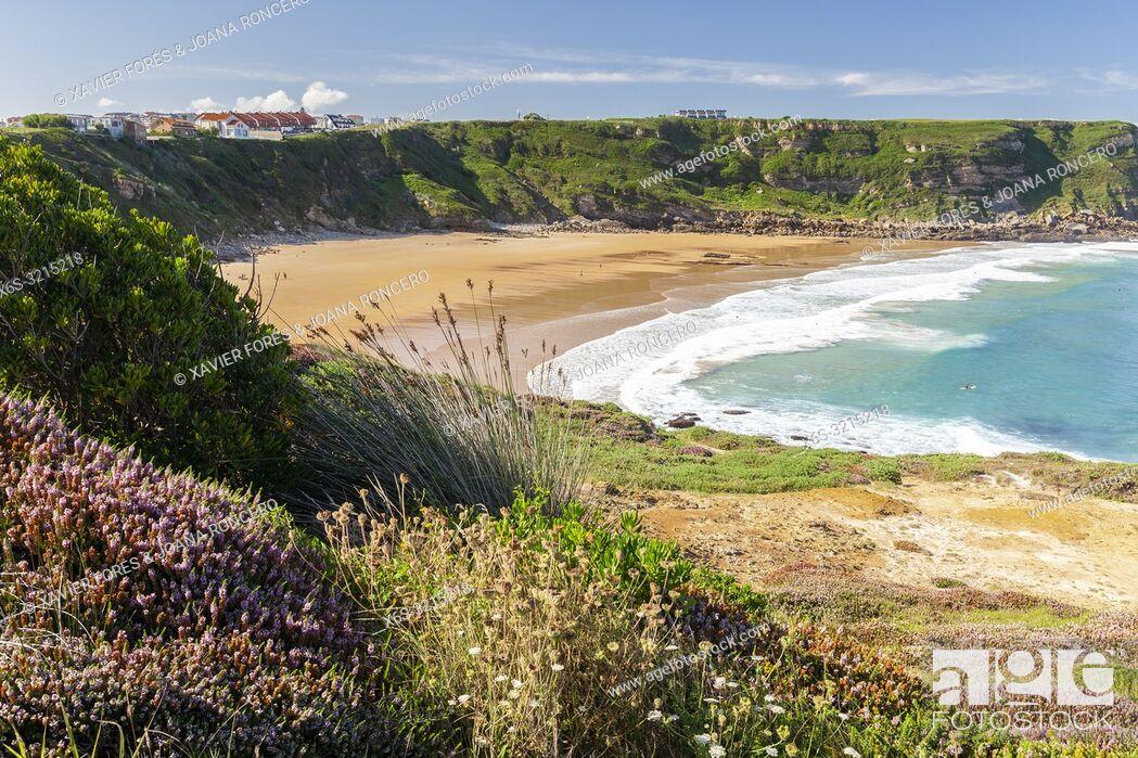 Stock Photo: De los Locos Beach in Suances, Cantabria, Spain.