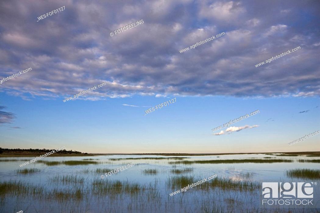 Stock Photo: Africa, Namibia, Etosha National Park, Lake and clouds.