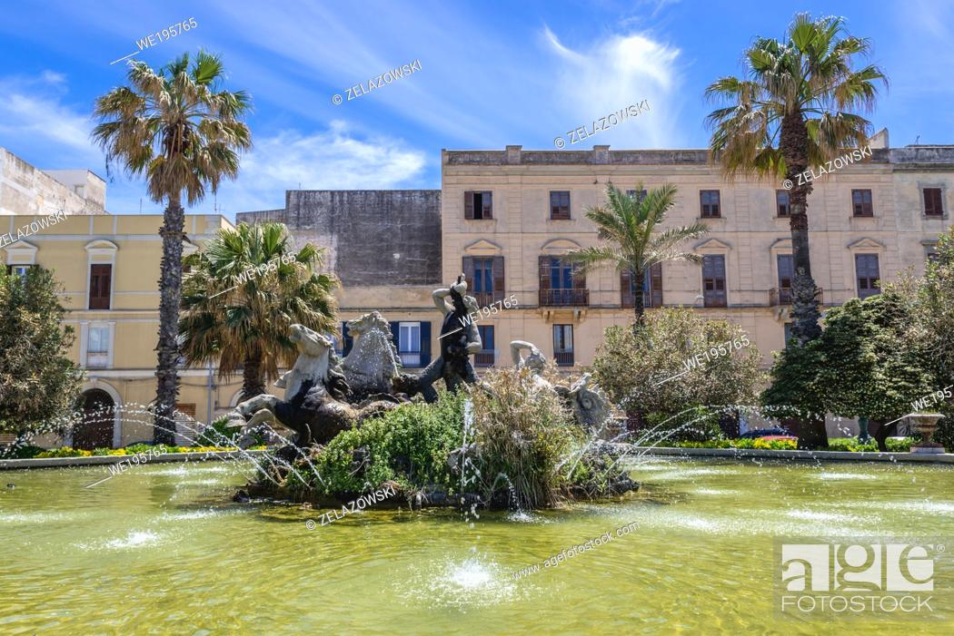 Stock Photo: Triton Fountain on Victor Emmanuel Square in Trapani city on the west coast of Sicily in Italy.