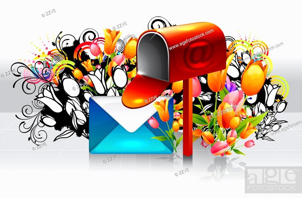 Stock Photo: Post box with flora design.