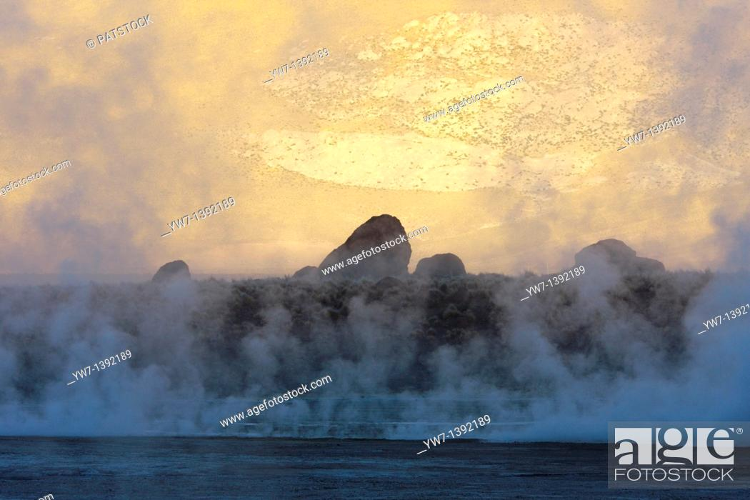 Stock Photo: El Tatio Geyser Field locally known as Los Géiseres del Tatio is located within the Andes Mountains of northern Chile at 4,200 meters above mean sea level.