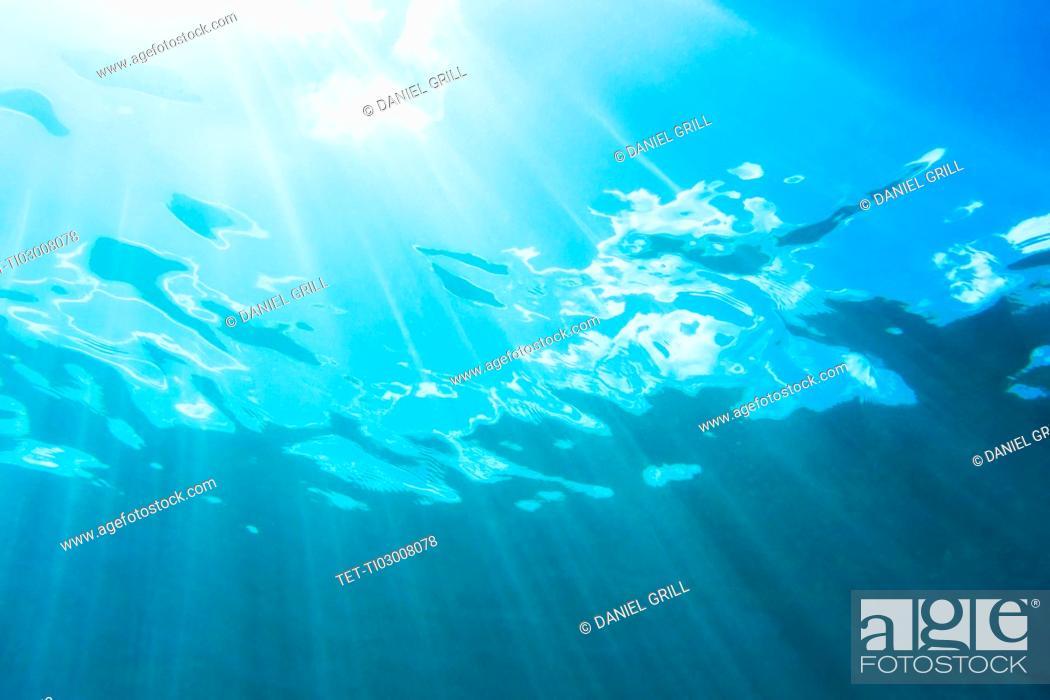 Stock Photo: Sunbeam shining underwater.