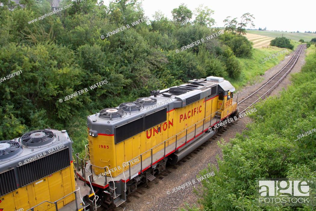 Stock Photo: A Union Pacific train in eastern Washington State, USA.