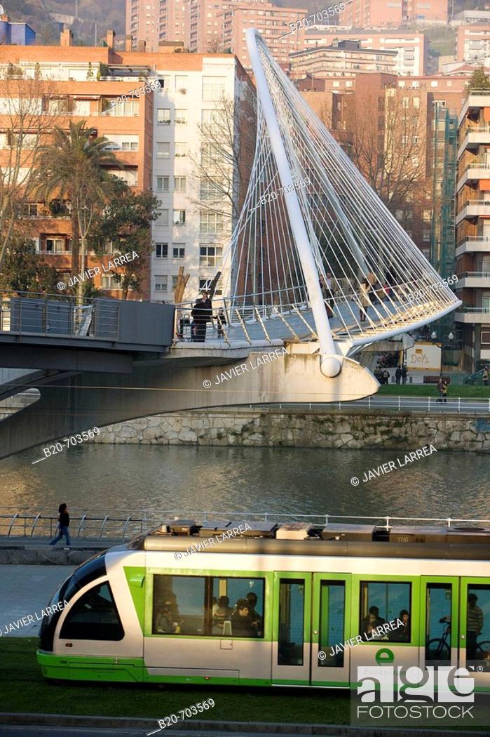 Stock Photo: View of 'Pasarela de Uribitarte' bridge, also called 'Zubi-Zuri' (means white bridge in Basque), designed by Santiago Calatrava. Bilbao.