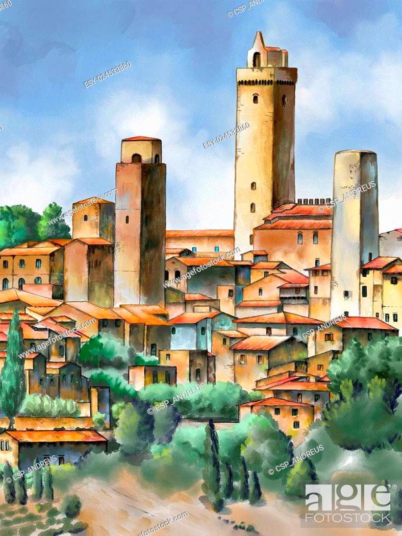 Stock Photo: San Gimignano.