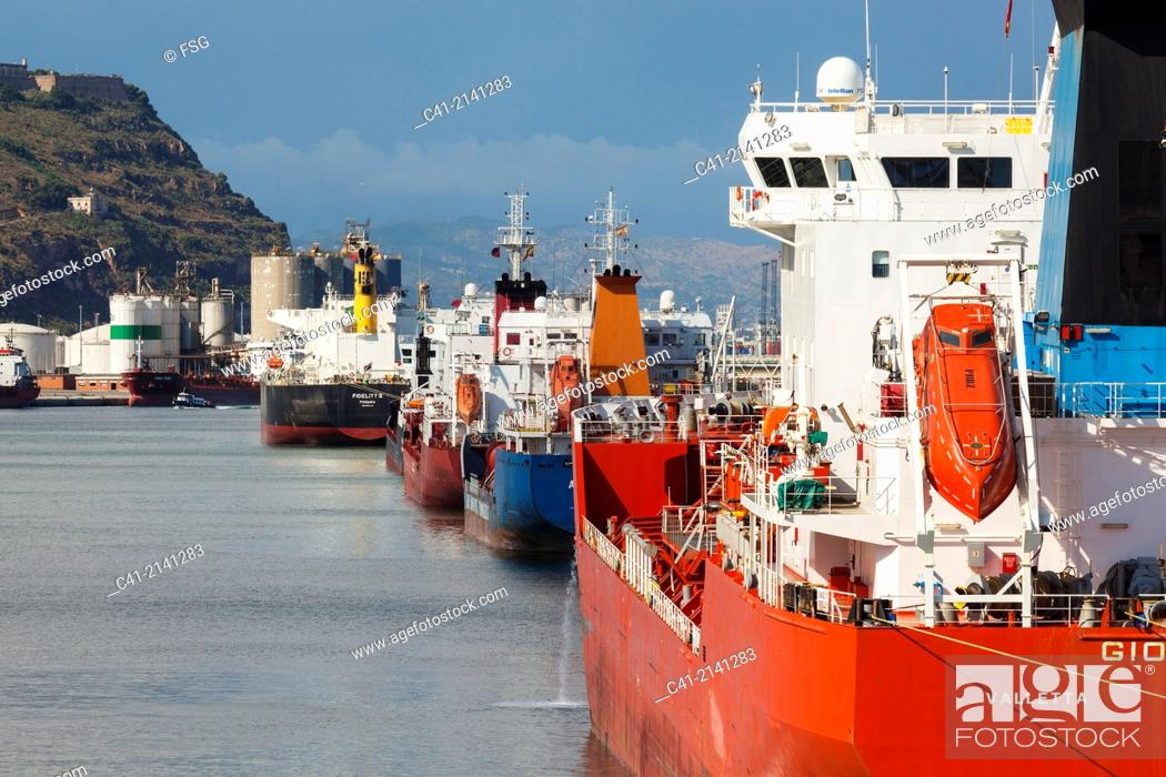 Stock Photo: Chemical deposits terminal. Port of Barcelona. Barcelona. Spain.