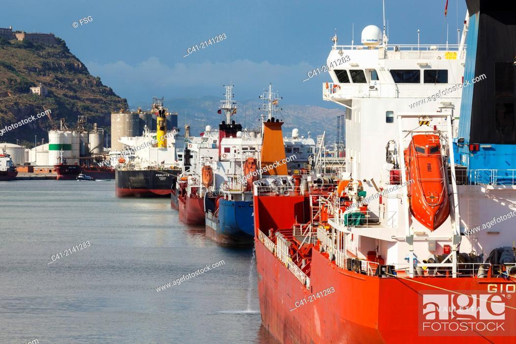 Stock Photo: Chemical deposits terminal. Port of Barcelona. Barcelona. Spain.