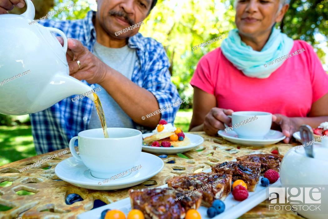 Stock Photo: Senior couple drinking tea.