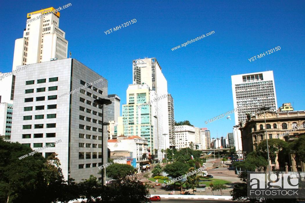 Stock Photo: Building of the Bank of Brazil, Vale do Anhangabaú, São Paulo, Brazil.