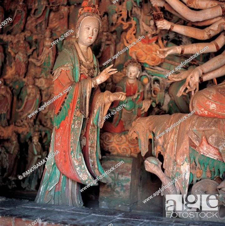 Stock Photo: the Sculptures of Chinese Goddesses the Temple of Pinglin of Song Dynesty,Pingyao,Shanxi Province.