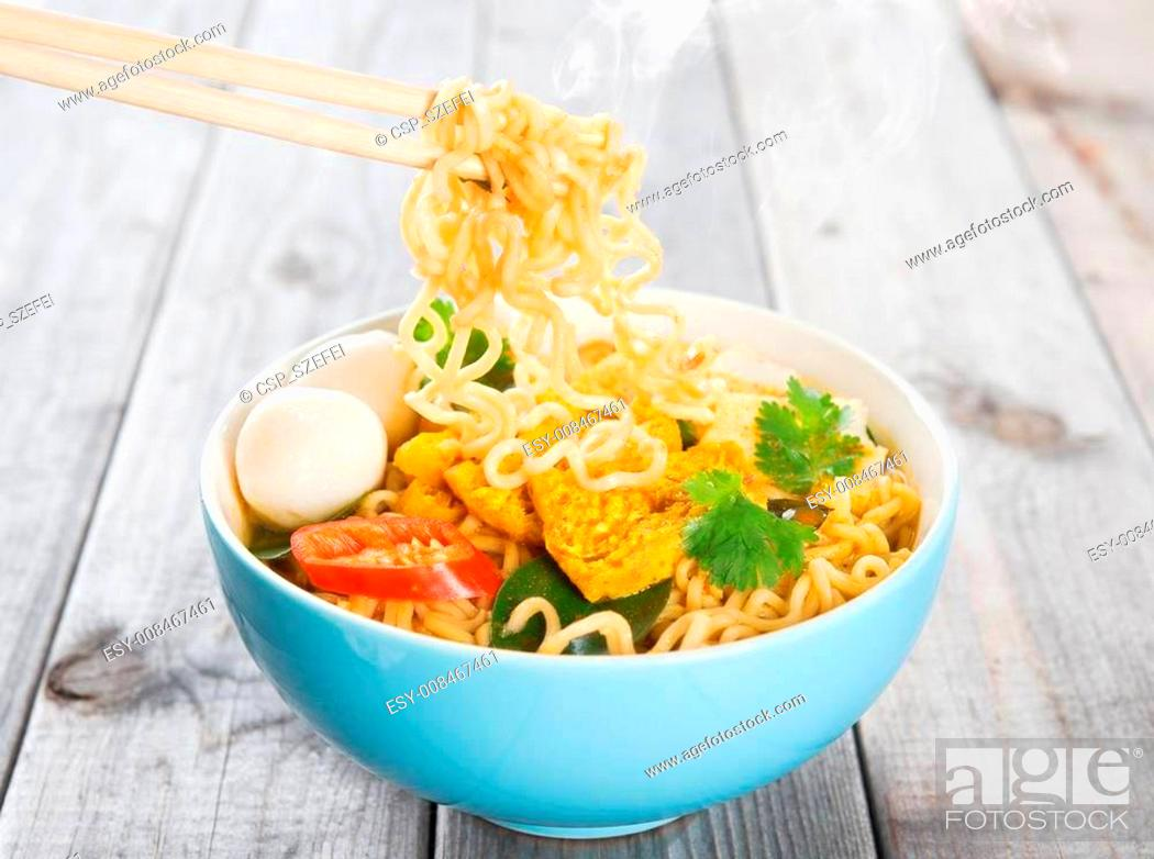 Stock Photo: Hot and spicy curry instant noodles.
