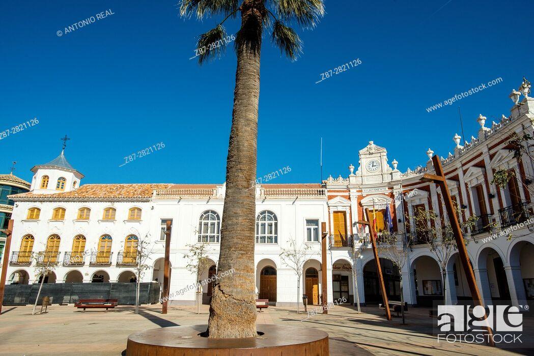 Stock Photo: Plaza de la Constitución. Manzanares. Ruta de Don Quijote. Province of Ciudad Real. Spain.