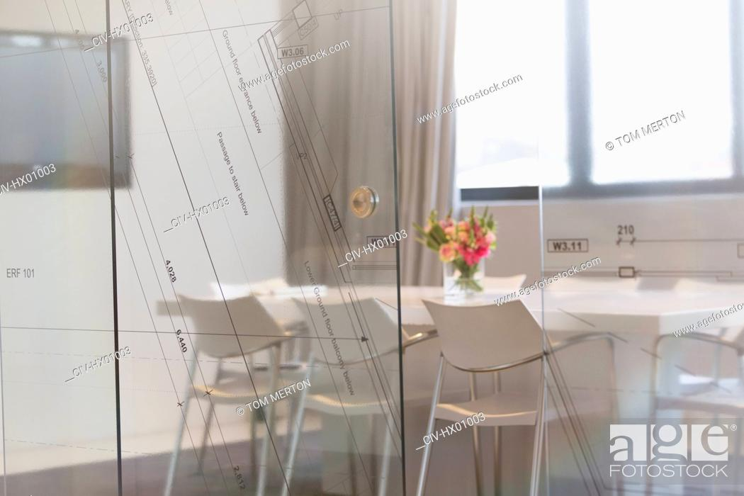 Stock Photo: Empty conference room in architectural firm.