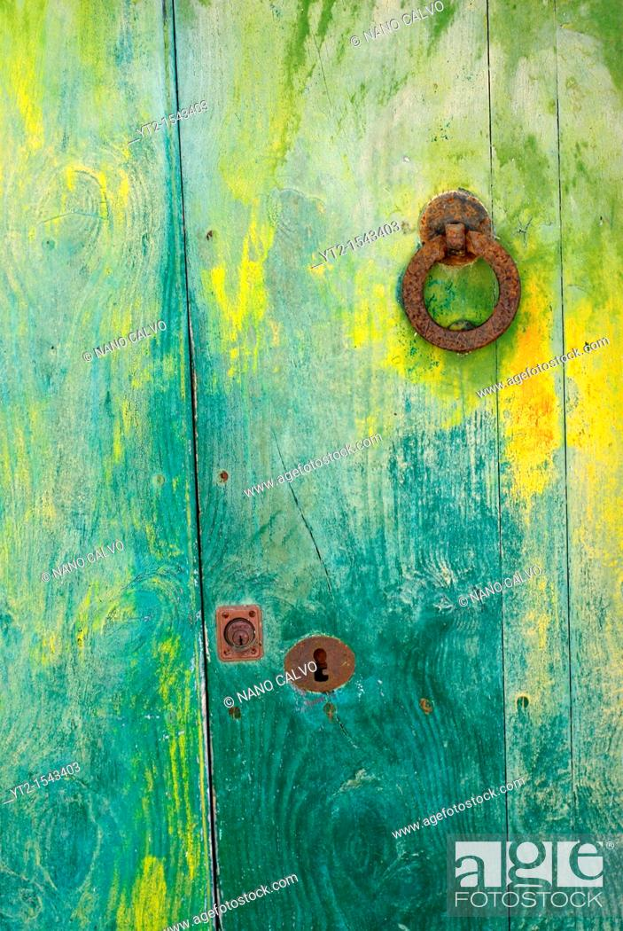 Stock Photo: Door detail at Puig de Missa, an important architectonic area of Santa Eulalia del Rio, with a church from the XVI Century that gives name to the popular set.