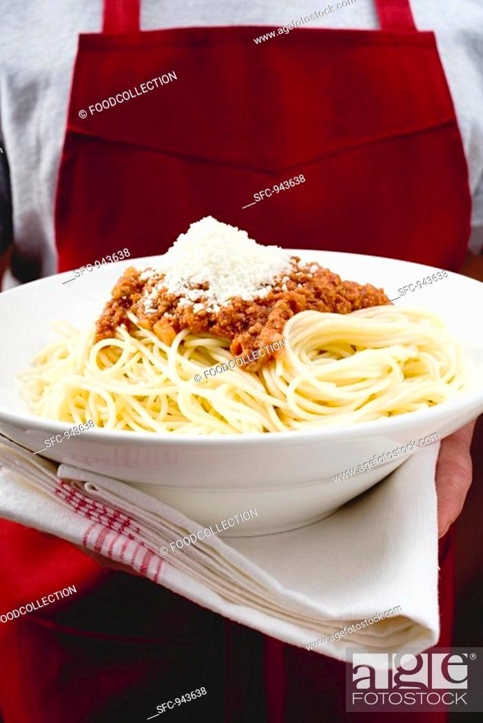 Stock Photo: Spaghetti bolognese with Parmesan.