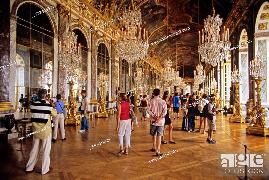 France versailles royal palace hall of mirrors crystal stock photo france versailles royal palace hall of mirrors crystal chandeliers gilded candelabras painted ceiling parquet wood floor visitors aloadofball Gallery