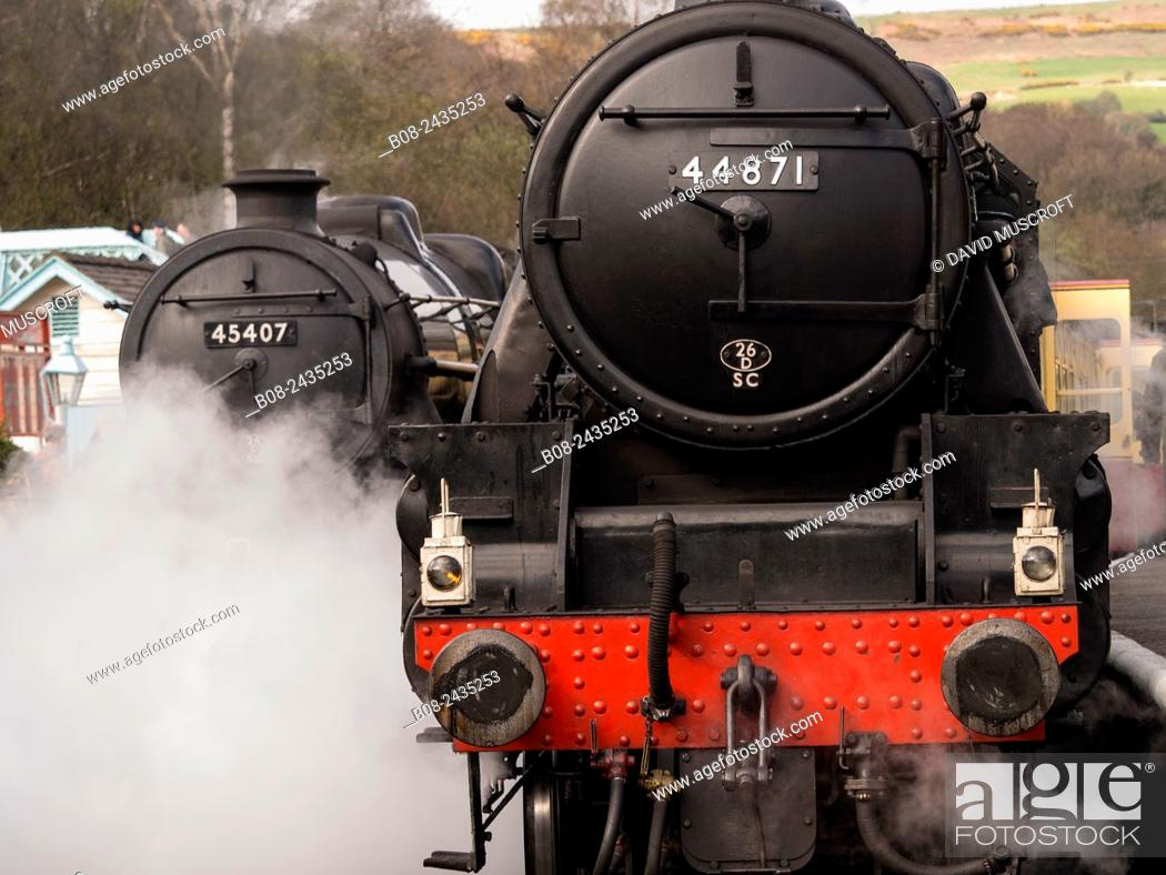 Stock Photo: vintage steam locomotive 44871 LMS at Grosmont station,on The North Yorkshire Moors Railway,Yorkshire,UK.