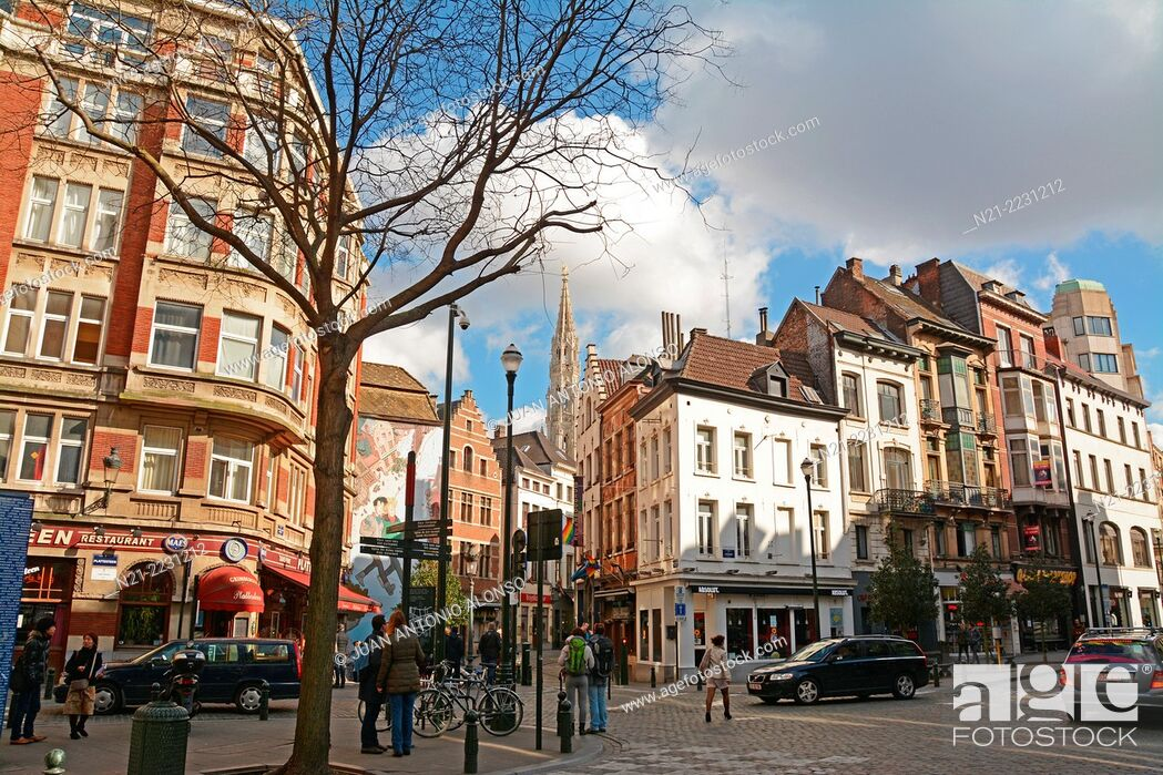 Stock Photo: The tower of the City Hall stands out in the background as seen from Plattesteen and Lombard Streets. Brussels, Belgium, Europe.