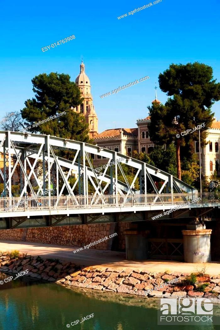Stock Photo: Bridge over Segura river called Nuevo Puente in Murcia.