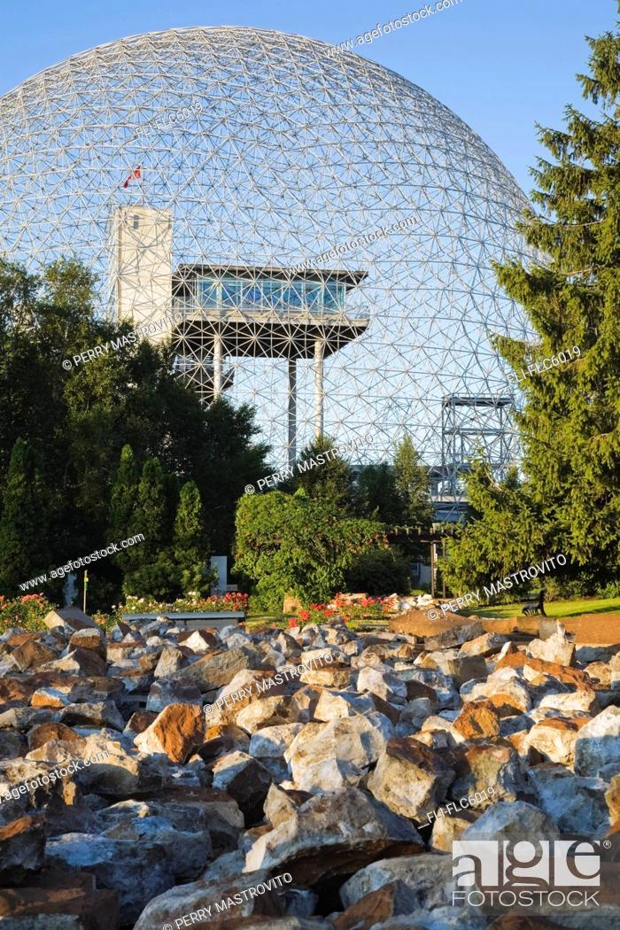 Stock Photo: The Biosphere museum at Jean-Drapeau Park on Ile Sainte-Helene, Montreal, Quebec, Canada.