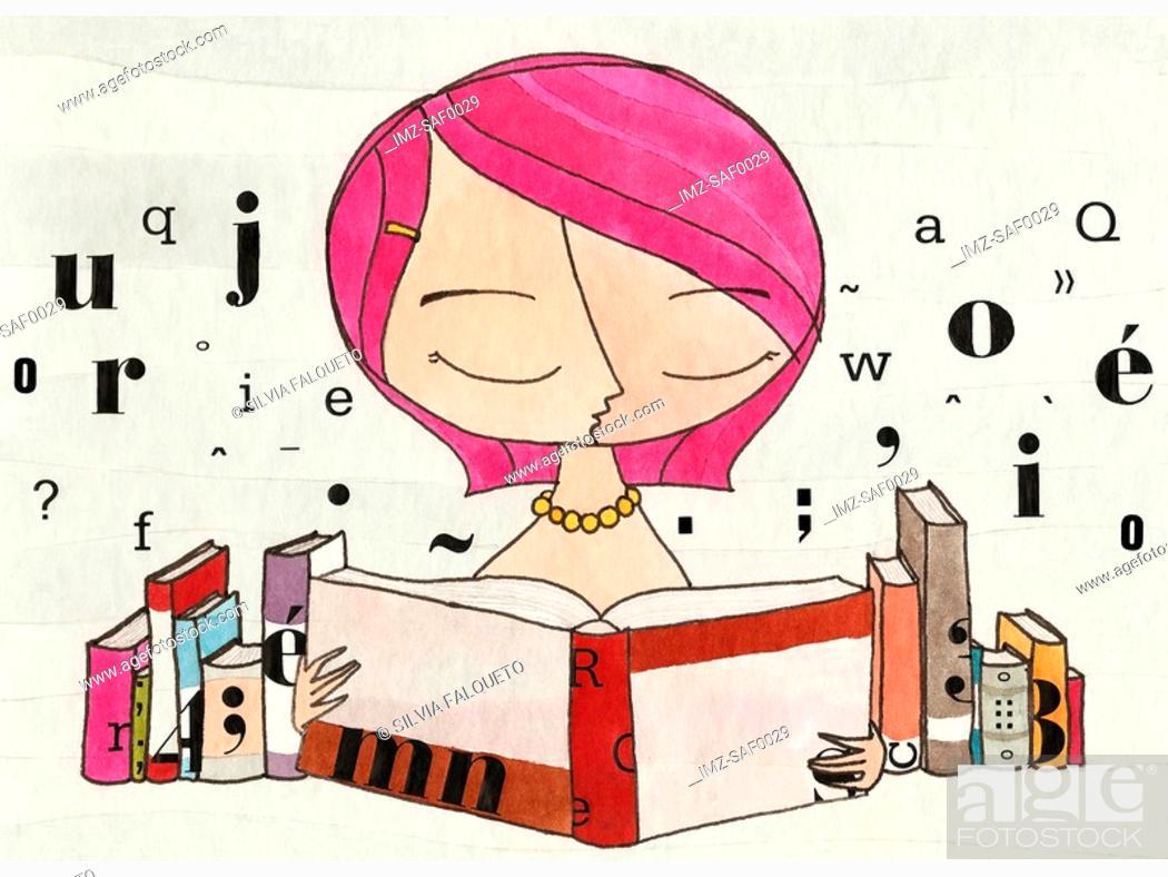 Stock Photo: A woman reading a book.