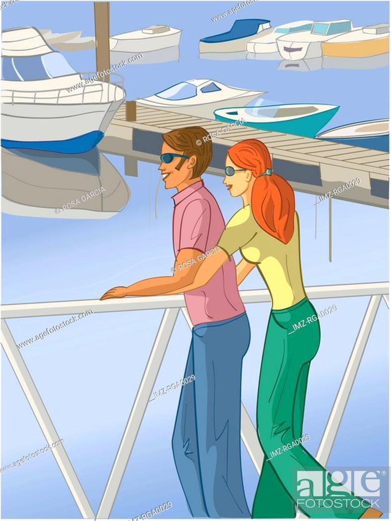 Stock Photo: couple at the marina.