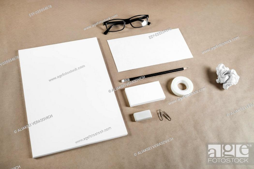 Stock Photo: Corporate stationery set on craft paper background. Blank branding mock-up.