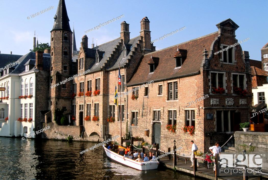 Stock Photo: Belgium, Bruges, canal scene.
